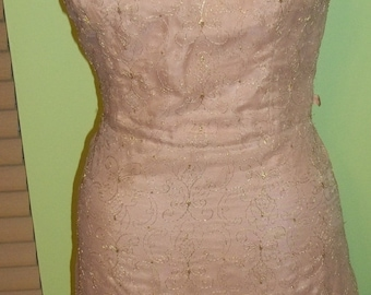 Flirty and Feminine Metallic Thread Embellished Wiggles Dress - SO CHIC
