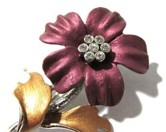 Purple Enamel Flower Pin VINTAGE Enamel Brooch FLOWER Silver Setting Gold Leaves Rhinestones Ready to Wear Fashion Jewelry (M92)