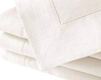 "Hemstitch 54"" Sq white tablecloth"