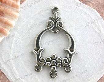 Lead Free Pewter Multi-Loop Finding, Vintage Style Floral Findings Links, Made in America USA, Copyright © Protected Pewter Beads ~ K388 AP