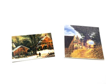 Art Work Paintings Set of 2 Dollhouse Miniatures 1:12 Scale Wall Art Diorama Shadow Box Supply Home Deocr - 332