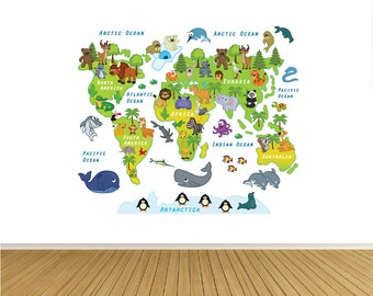 World map decal etsy world map decal wall decals animal world map map wall art map gumiabroncs Images