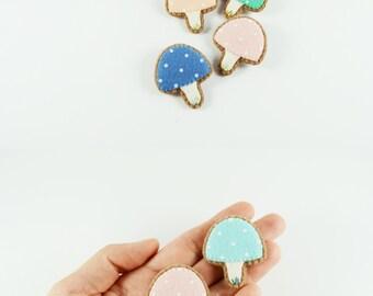 Pastel Wool Felt Mushroom Brooch/ Fairy Tale Mushroom Felt Brooch/ Enchanted Mushroom Felt Pin / Cute Tiny Mushroom Pin/ Odd Mushroom Brooch