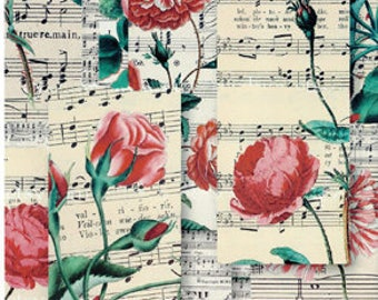 Music Rose Decoupage Paper A4 Decoupage supplies Scrapbooking Paper Craft Projects Floral Patterns #418