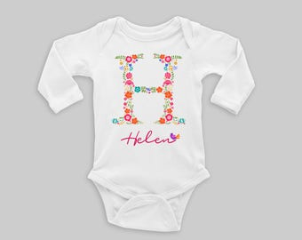 Monogram baby gift etsy name on baby bodysuit personalized name baby outfit going home outfit initial bodysuit monogrammed baby gift negle