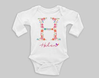Monogram baby gift etsy name on baby bodysuit personalized name baby outfit going home outfit initial bodysuit monogrammed baby gift negle Images