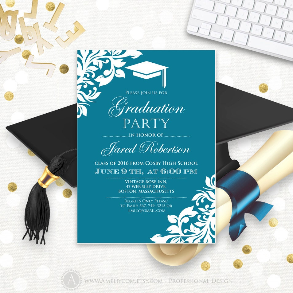 printable graduation party invitation template blue teal high. Black Bedroom Furniture Sets. Home Design Ideas