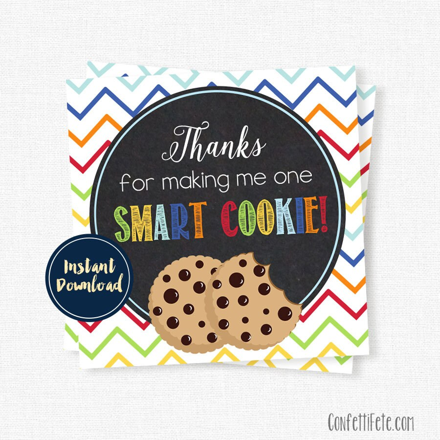 One smart cookie tag teacher appreciation tags teacher gift zoom negle Image collections