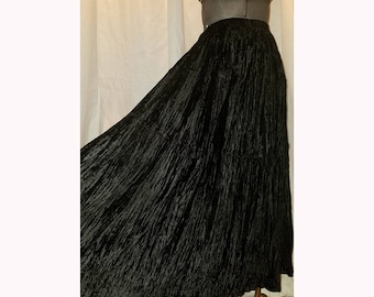 Vintage Long Black Velvet Broom Skirt, Witchy Gothic, Small/Medium