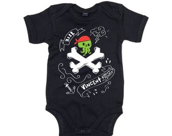 Little Pirate - Organic Baby Bodysuit with Your Baby's Name
