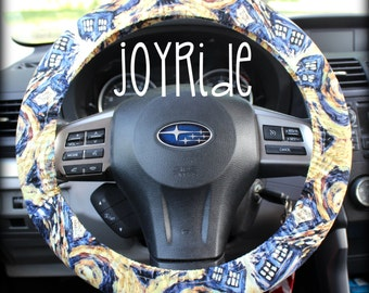 Steering Wheel Cover Dr Who Time lord Tardis Police Box Matching Keychain Option Christmas Present  Girls Car Accessories