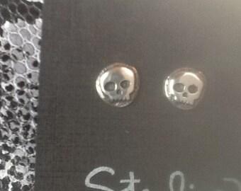 Day of the Dead earrings ,skull earrings, sterling silver stud earrings