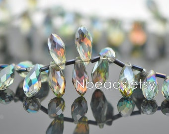 95pcs Teardrop Crystal Glass Faceted beads, 17x8mm Water Drop, Sparkly Green Rose Briolette- (HS16-3)