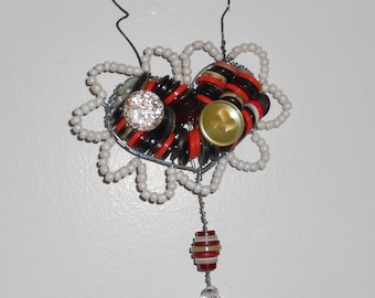 Vintage Button and Bead Wire Heart Hanger