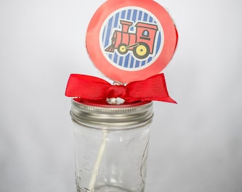 Train Whirly Pop. Party Favor. Lollipop. Red. Cherry. Candy. Blue. Christmas. Birthday