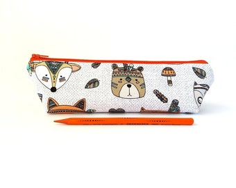 Kids pencil case, Tribal animal pencil pouch, Small or Large, Cute school supplies, Children gift, Bear, Fox, Dear