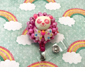 Bear Panda Pink Bow Badge Reel ID Holder Belt Clip Nurse CNA RN Technician Convention Retractable Cute Kawaii Fairy Kei