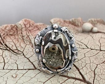 AMMONITE RING, Size 9, Fossil ring,Statement Ring, Handcrafted Ring, Gemstone Ring, Artisan Ring, 925 Sterling Silver