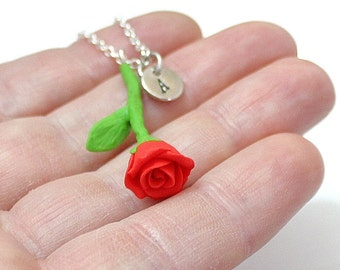 Red Rose Necklace, Personalized Initial Disc Necklace, Rose Charm, Valentine, Love Necklace, Flower Girl Jewelry, Red Bridesmaid Jewelry