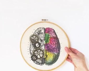 Brain embroidery hoop art-brain wall art-anatomy wall art-home decor-hoop art-brain print-medical office decor-design by NATURA PICTA-EHO17