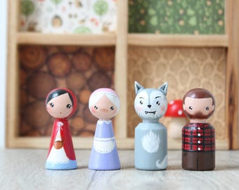Little red riding hood dolls, peg doll set, waldorf toys, dollhouse wooden dolls, nursery toys, handpainted wooden toys