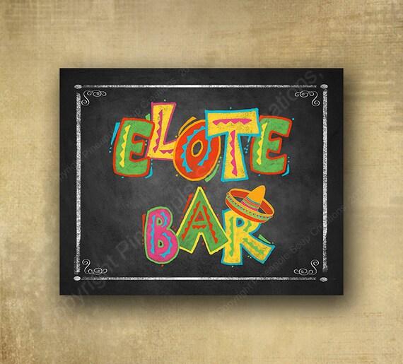 Fiesta Elote Bar Printed chalkboard looking sign, Fiesta party signage, graduation sign, wedding sign, Fiesta Grad sign, Fiesta birthday