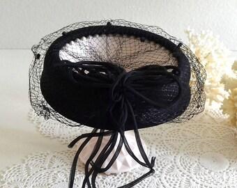 vintage black fascinator hat black fancy hat birdcage veil