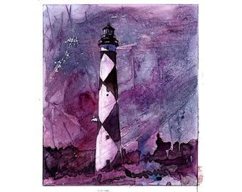 Cape Lookout lighthouse-Outer Banks, North Carolina.  Lighthouse artwork home decor.  Watercolor giclee.  Fine art print.  Colorful painting