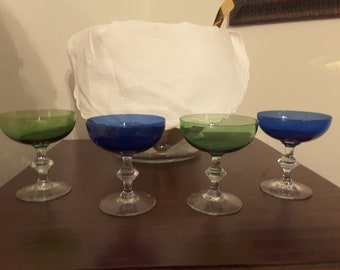 Vintage Colorful Champagne Coupes,  Set of 4