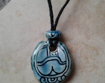 Mayan KIB Necklace Ceramic Candle Glyph Turquoise Teal Mesoamerican Tzolk'in Day Sign Amulet Clay Aztec Calender Olmec Symbol