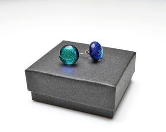Green blue dichroic stud earrings