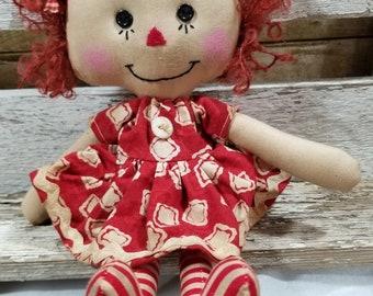 Raggedy Annie Primitive Dolls Lil Lupe Annie Raggedy Ann Doll Red Squares Dress Annie Doll