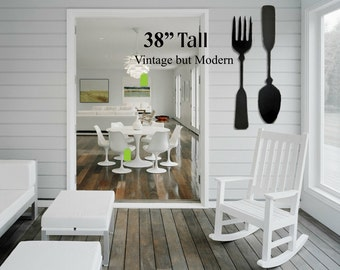 Large Wood fork and spoon wall decor, handmade, kitchen decor