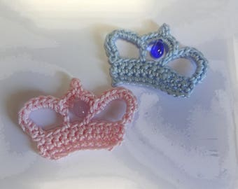 applied 2 royal crowns baby crocheted blue and white