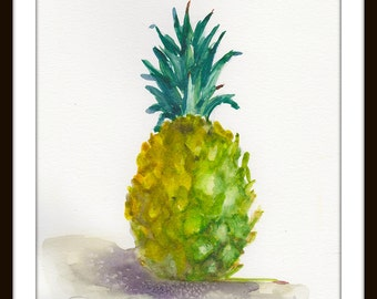 Bright and Ripe Pineapple In Watercolors Print/ Fruit Art print/ Fruit & Vegetable Illustration/Yellow and Green