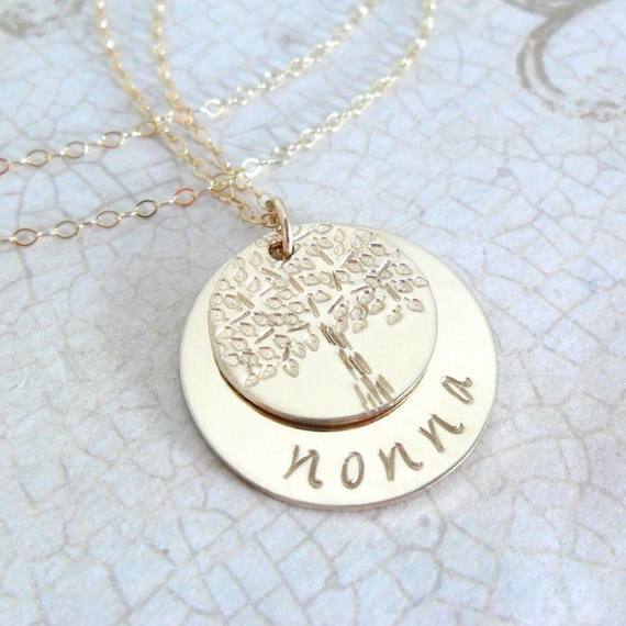 Grandma Necklace   Grandmother Necklace   Nonna Jewelry   Nana Jewelry   Bubbe Jewelry   Nanny Jewelry   Tree of Life   Gold Fill Discs