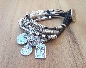 Layered Bracelet-Variety of Religious Medals and leather Bracelet-Boho Urban jewelry-Uno de 50 Style