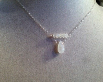 Moonstone Necklace - Rainbow Moon Stone Pendant - Sterling Silver Jewelry - Gemstone Jewellery - Chain - Luxe - Glam