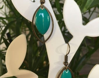 Earrings turquoise navettes