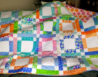 QUILTS homemade BED BLANKET, Bed cover, Lap quilt, girls, tweens, teens, graduation gift Dorm Room size