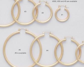 4 mm Gold Filled Endless Hoop Earrings/ PATTERNED/ Gold Filled Hoop/ LATCH BACK Closure/ Infinity Hoops/ Selling by One pair