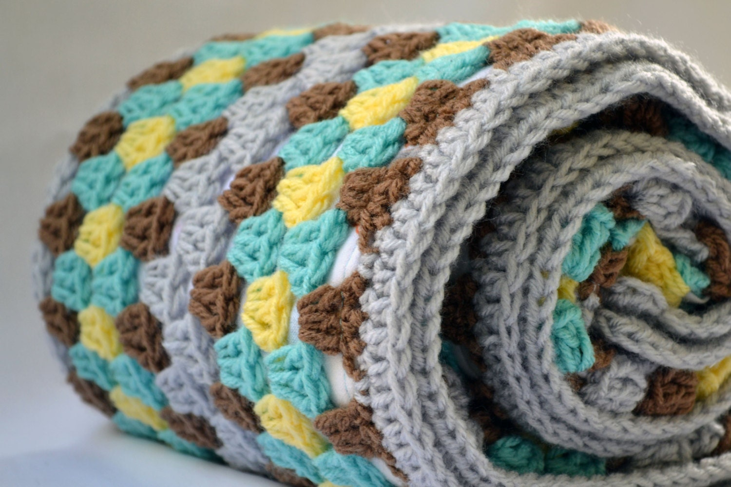 Fun At The Zoo Crochet Baby Blanket Granny Square Reversible