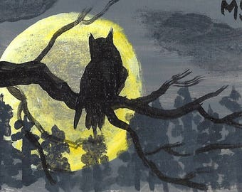 The Owl and the Moon ACEO