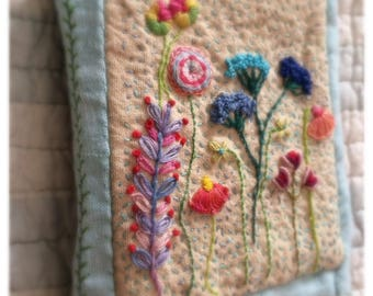 Heirloom quality Hand Embroidered Floral Needlebook Pincushion
