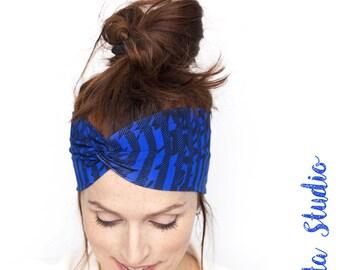 Stripes Headband - Blue Headband Workout Headband Blue Head wrap Turban Hair Band Women Hair accessories Gift for her Twist Headband