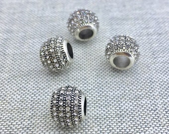 White clear rhinestone sterling silver barrel bead 1pc fit european / Pandora bracelet