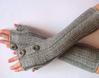 Fingerless Gloves Gray Button Arm Warmers Mittens 14.5 inch Knit Acrylic