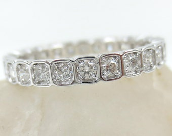 2.8mm Square Bezel Box round brilliant Diamond Eternity Band  - Wedding Band