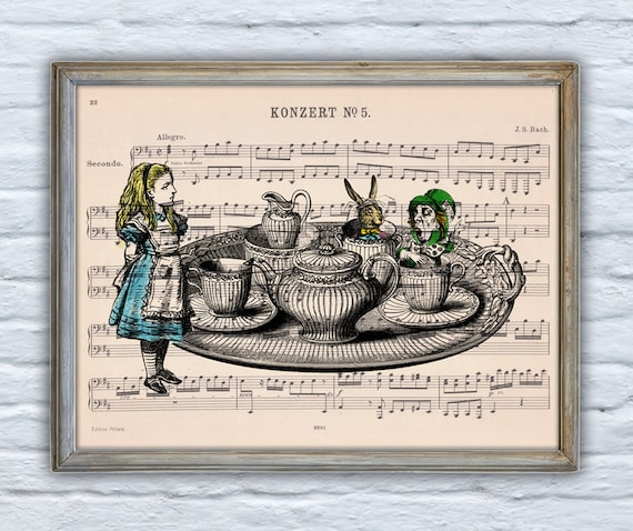 Alice in wonderland - Tea time with friends- Print Dictionary page- Nursery wall art-Giclee print- Unique gift ALW019MSH