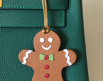Leather Double-Sided Gingerbread Man Bagcharm on Tan Cord